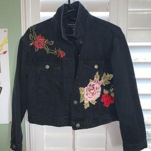urban outfitters black denim jacket